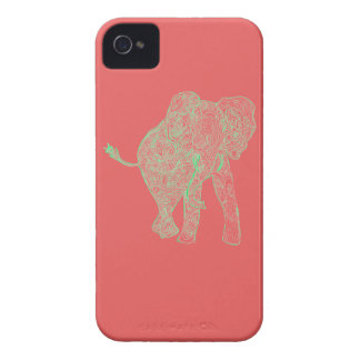 Lime/Peach Elephant iPhone 4 Case