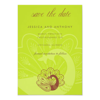 lime peacock save the date 13 cm x 18 cm invitation card
