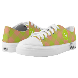 lime pink diagonal buffalo plaid monogram printed shoes