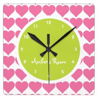 Lime & Pink Heart Print Girl's Bedroom Wall Clocks