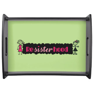 Lime Pink Political Resisterhood Womens Rights Serving Tray