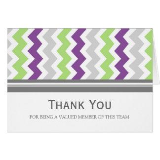 Lime Plum Grey Chevron Employee Appreciation Card