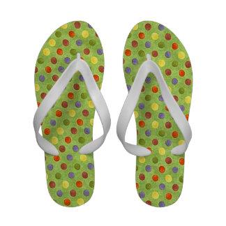 Lime polka dot flip flops