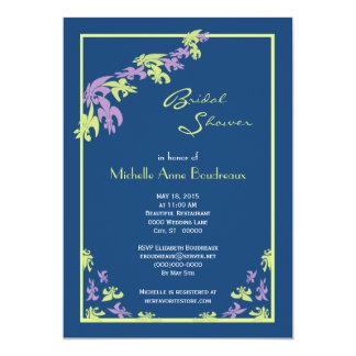 Lime Purple Blue Fleur de Lis Modern Bridal Shower 13 Cm X 18 Cm Invitation Card