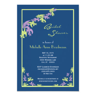 Lime Purple Blue Fleur de Lis Modern Bridal Shower Card