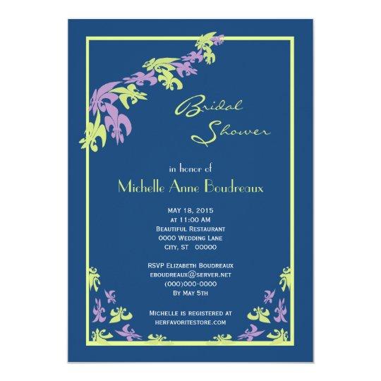Lime Purple Blue Fleur de Lis Modern Bridal