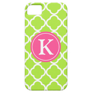 Lime Quatrefoil Pink Monogram iPhone 5 Covers
