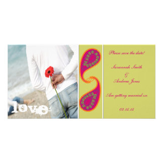 Lime & Raspberry Paisley Save the Date  Your Photo Personalised Photo Card