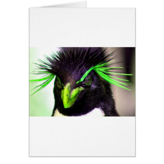 Lime Rockhopper penguin Card