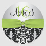 Lime, Silver, and Black Damask Sweet 16 Sticker