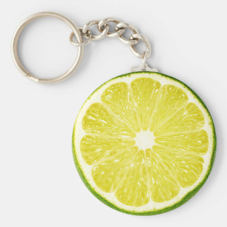 Lime Slice Basic Round Button Key Ring