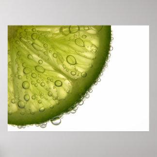Lime Slice Bubbles Food Photography Prints