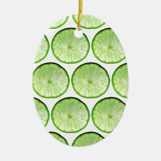 Lime slices ceramic oval decoration