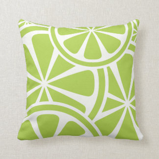 Lime Slices Green Summer Throw Pillow