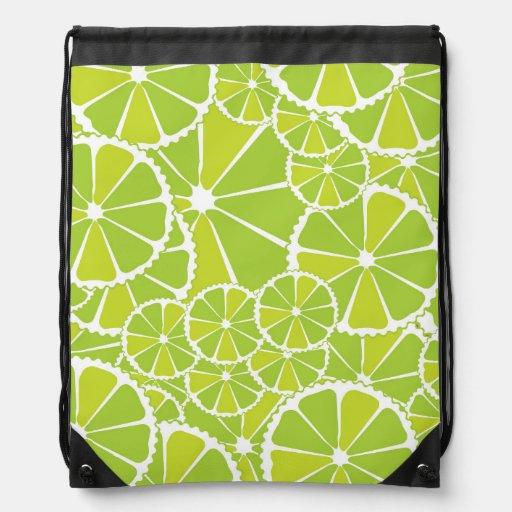 Lime slices drawstring backpacks