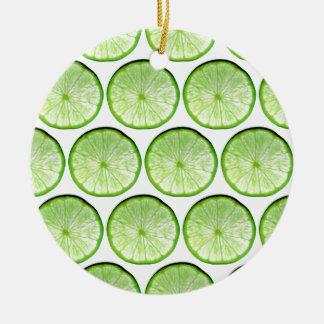 Lime slices round ceramic decoration