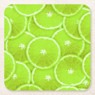 Lime slices square paper coaster