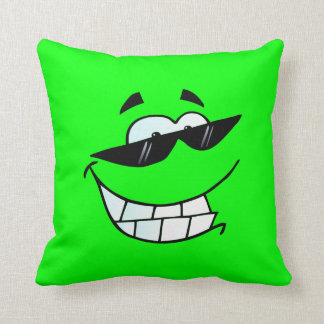 Lime Smiling Face in Shades Cushion
