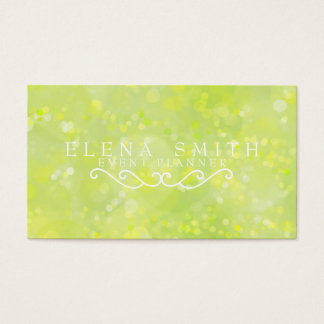 Lime Sparkle Bokeh Business Card