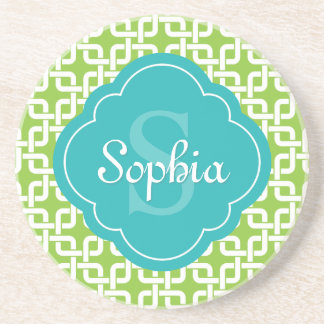 Lime Square Chain Pattern Teal Monogram Coaster