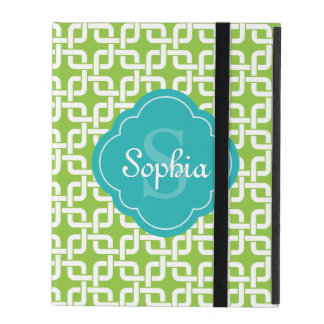 Lime Square Chain Pattern Teal Monogram iPad Case