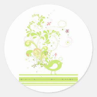 lime swirly bird vector round sticker
