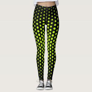 Lime Techno Dot Pattern Leggings
