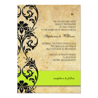 Lime Vintage Floral Swirl Wedding Invitation