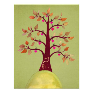 Lime Wedding Fall Autumn Heart Tree Carving Invite