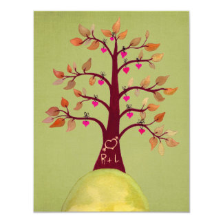 "Lime Wedding Fall Autumn Heart Tree Carving Invite 4.25"" X 5.5"" Invitation Card"