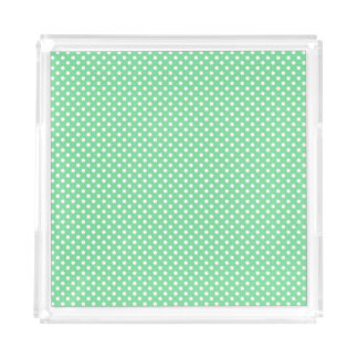Lime with White  Polka Dots Acrylic Tray