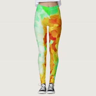 Lime Yellow Paint Splatter Leggings