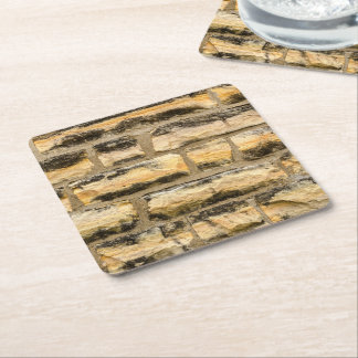 Limestone Wall with Beautiful Colors Square Paper Coaster