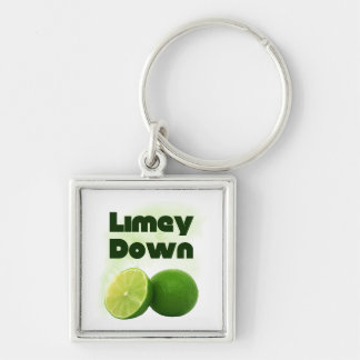 Limey Down Silver-Colored Square Key Ring