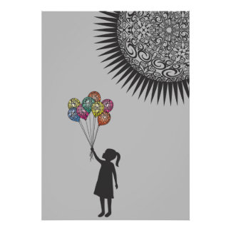 Limited to only 30 prints Girl Balloons Under Sun Poster