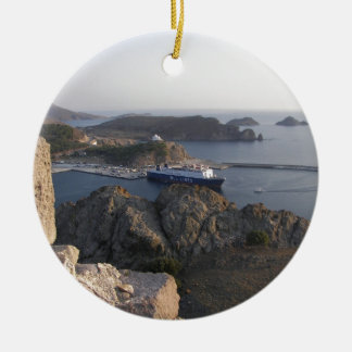 Limnos Ferry From The Hill Christmas Ornament