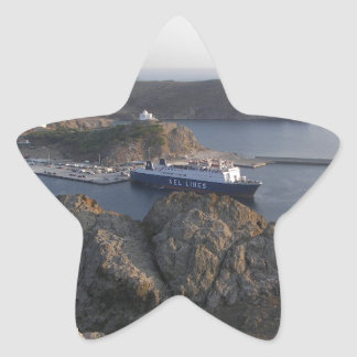 Limnos Ferry From The Hill Star Sticker