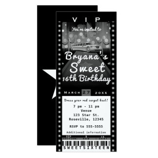 Limo in City Black & White Party Ticket Invitation