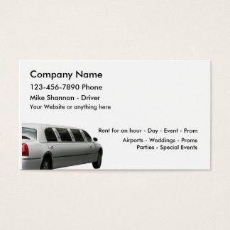 Limo Rental And Driver Service Business Card