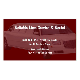 Limo Service Pack Of Standard Business Cards