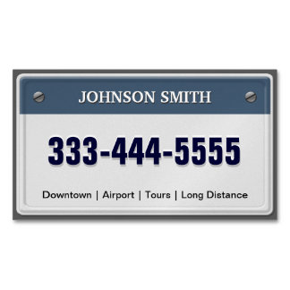 Limo & Taxi Service - Cool Licensed Plate Magnetic Business Cards