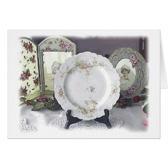 Limoges and Pink Roses Card