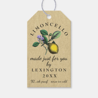 Limoncello Vintage Drawing Homemade Wine Gift Tags