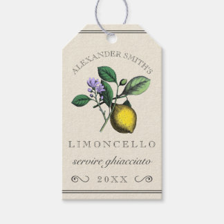Limoncello Vintage Lemon Illustration | Bottle Gift Tags