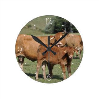 Limousin cow and calf wall clocks