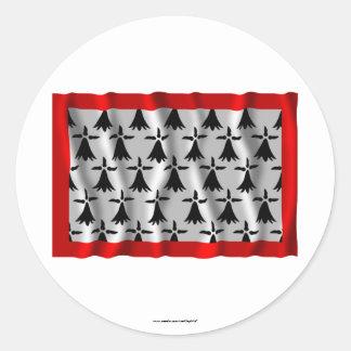 Limousin waving flag round sticker