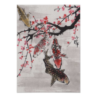 Lin Li's Art Chinese Watercolor KOI Plum Blossoms Poster