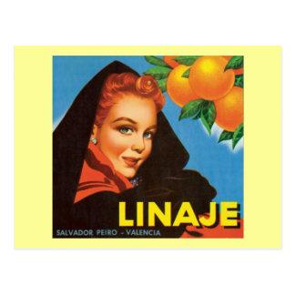 Linaje Vintage Fruit Label Postcard