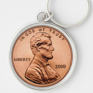 LINCOL PENNY Silver-Colored ROUND KEY RING