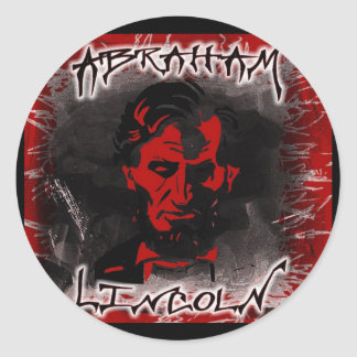 Lincoln Blood-Red Horror Star Round Stickers